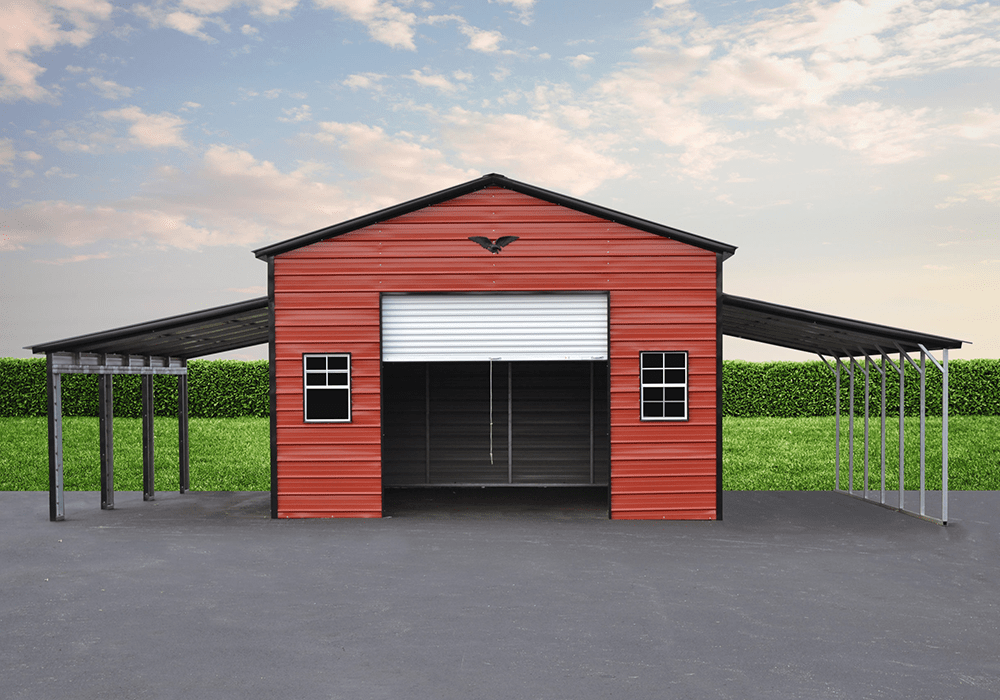Garage with lean-to's